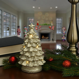 """10"""" Lighted Gold Christmas Tree Decor, , rollover"""