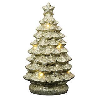 "10"" Lighted Gold Christmas Tree Decor, , large"