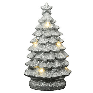 """10"""" Lighted Silver Christmas Tree Decor, , large"""