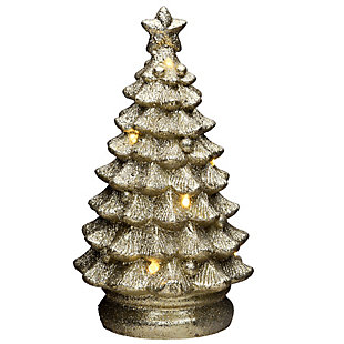 "9"" Lighted Gold Christmas Tree Decor, , large"