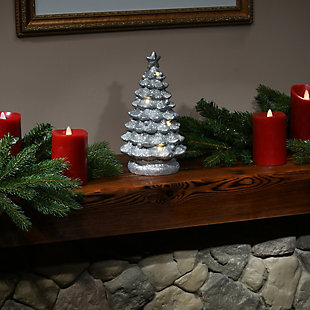 """9"""" Lighted Silver Christmas Tree Decor, , rollover"""
