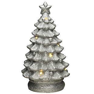 """9"""" Lighted Silver Christmas Tree Decor, , large"""