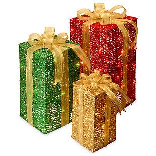 Pre-Lit Sisal Gift Box Assortment, , large