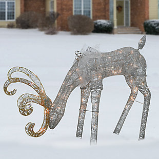 28in. Reindeer Decoration with LED Lights, , rollover