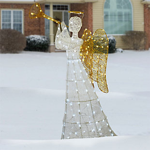 60in. Angel Decoration with LED Lights, , rollover