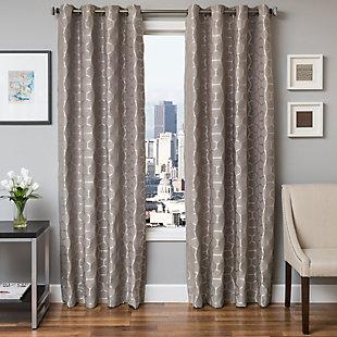 "Davos 84"" Jacquard Tile Panel Curtain, Gray, large"