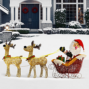 34in. Santa and Reindeer with Clear Lights, , rollover