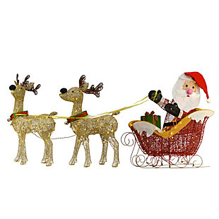 34in. Santa and Reindeer with Clear Lights, , large