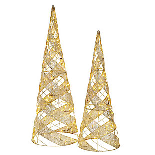Spiral Cone Tree Pair with Warm White LED Lights, , large