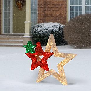 """28"""" Pre-Lit Glittered Multi Stars Decoration, , rollover"""
