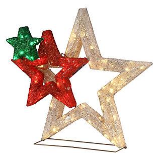 "28"" Pre-Lit Glittered Multi Stars Decoration, , large"