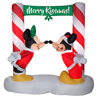 5.5 ft. Inflatable Mickey and Minnie Under the Mistletoe, , large