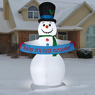 8 ft. Inflatable Snowman with Sign, , rollover