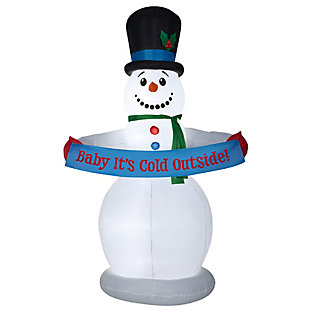 8 ft. Inflatable Snowman with Sign, , large