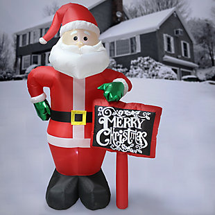 8 ft. Inflatable Santa with Sign, , rollover
