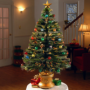 """48"""" Fiber Optic Fireworks Tree with Ball Ornaments, , rollover"""