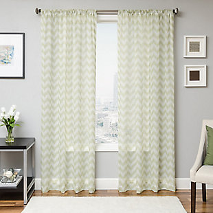 "Lyra 84"" Sheer Chevron Panel Curtain, Lime, large"