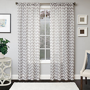 "Lyra 84"" Sheer Chevron Panel Curtain, , rollover"
