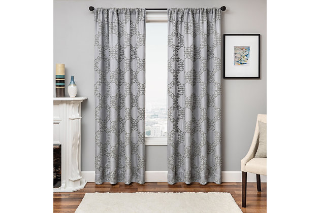 """Liam 84"""" Embroidered Panel Curtain, , large"""