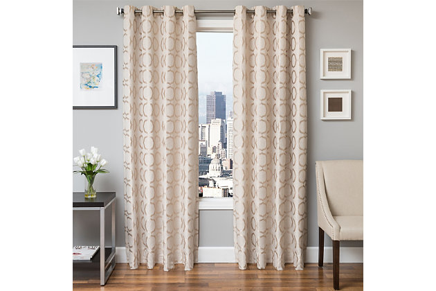 "Lapeer 84"" Jacquard Panel Curtain, Natural, large"