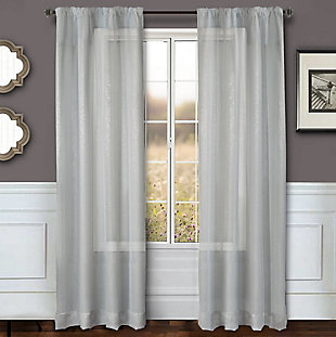 "Eleganz 84"" Metallic Sheer Panel Curtain, , rollover"