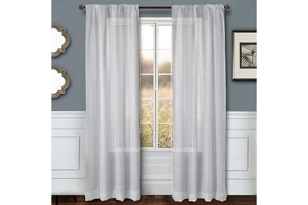 """Eleganz 84"""" Metallic Sheer Panel Curtain, , large"""