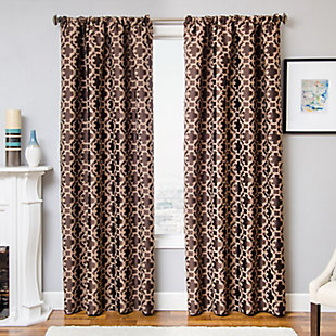 "Peyton 84"" Jacquard Tile Panel Curtain, , rollover"
