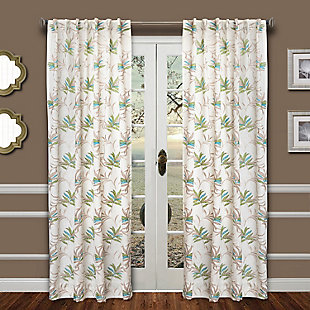"Tropic 84"" Palm Panel Curtain, Green Blue, large"