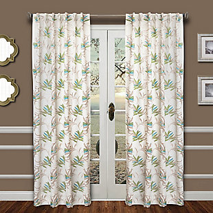 """Tropic 84"""" Palm Panel Curtain, Green Blue, rollover"""