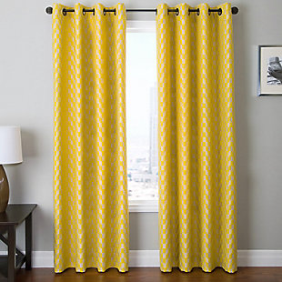 "Vaughn 84"" Jacquard Chevron Panel Curtain, , rollover"