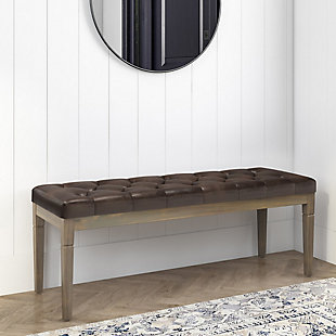 Simpli Home Waverly Tufted Ottoman Bench, Distressed Brown, rollover
