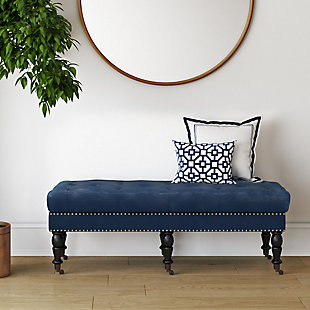 Simpli Home Henley Ottoman Bench, Dark Blue, rollover