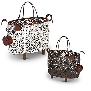 The Gerson Company Nesting Metal Pig Baskets (Set of 2), , large