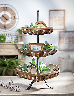 The Gerson Company Bamboo and Metal Basket Tray, , rollover