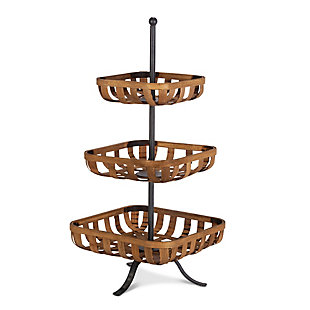 The Gerson Company Bamboo and Metal Basket Tray, , large