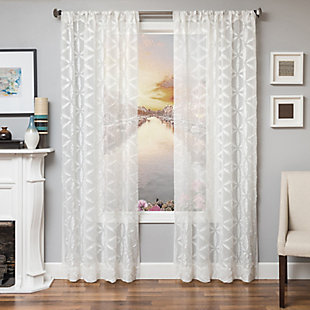 "Celestia 84"" Sheer Panel Curtain, White, large"