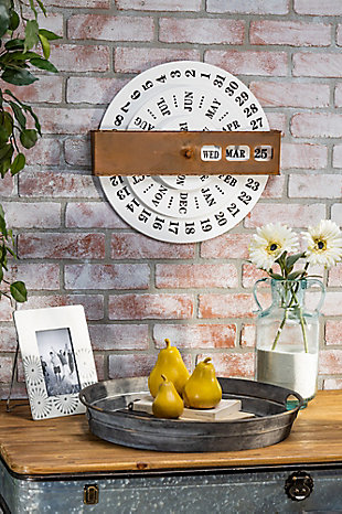 The Gerson Company Embossed Metal Perpetual Calendar, , rollover