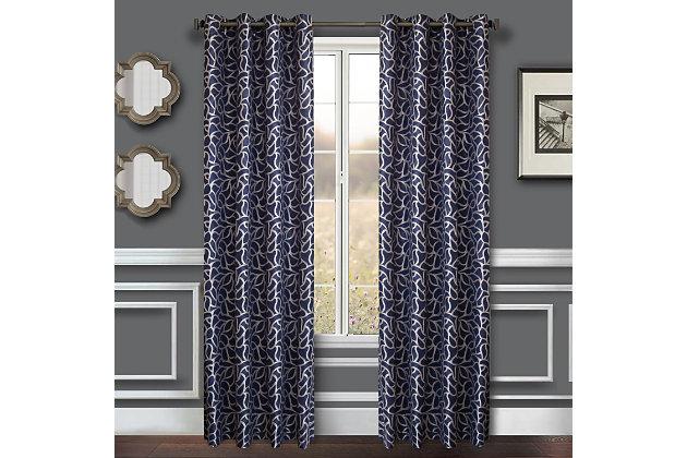 "Basra 96"" Jacquard Tile Panel Curtain, Blue Violet, large"
