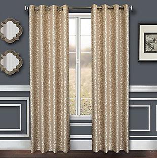 "Basra 84"" Jacquard Tile Panel Curtain, Champagne, rollover"