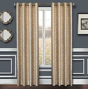 "Basra 84"" Jacquard Tile Panel Curtain, Champagne, large"