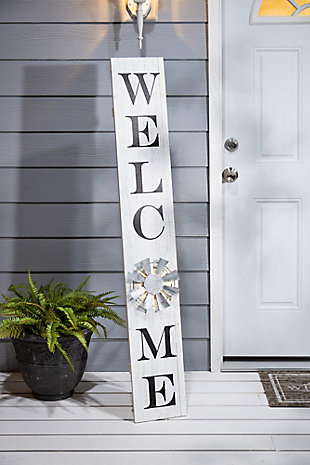 The Gerson Company White Wood Welcome Porch Sign with LED Light, , rollover