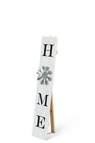 The Gerson Company White Wood Welcome Porch Sign with LED Light, , large