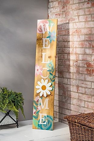 The Gerson Company Operated Wood Floral Welcome Porch Sign with LED Light, , rollover