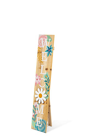 The Gerson Company Operated Wood Floral Welcome Porch Sign with LED Light, , large