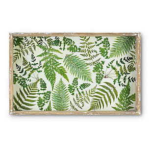The Gerson Company Wooden Fern Pattern Trays with Glass Bottom (Set of 2), , rollover