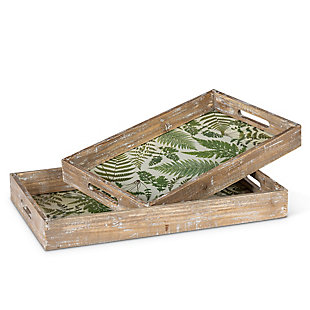 The Gerson Company Wooden Fern Pattern Trays with Glass Bottom (Set of 2), , large