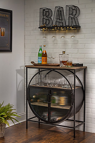 Lone Elm Studios Bar Table with Glass Doors, , rollover