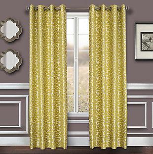 """Basra 96"""" Jacquard Tile Panel Curtain, Citron, large"""