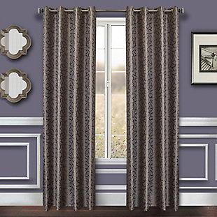 "Basra 96"" Jacquard Tile Panel Curtain, Slate, large"