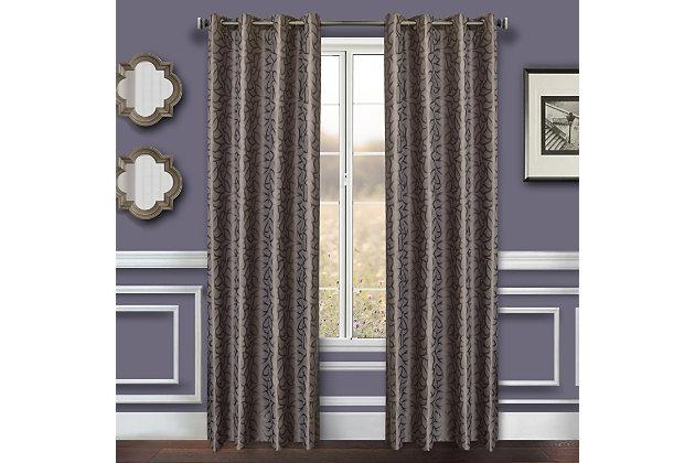 "Basra 84"" Jacquard Tile Panel Curtain, Slate, large"